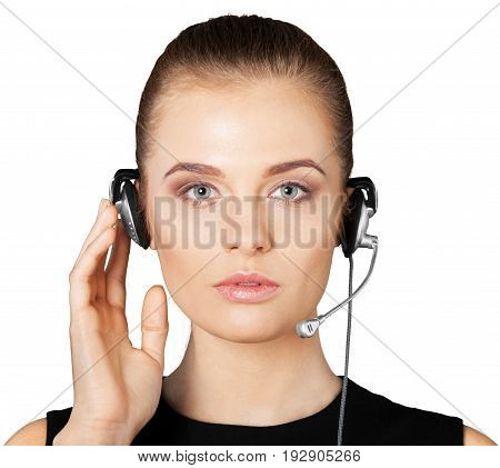 Young face woman headphones global network background view