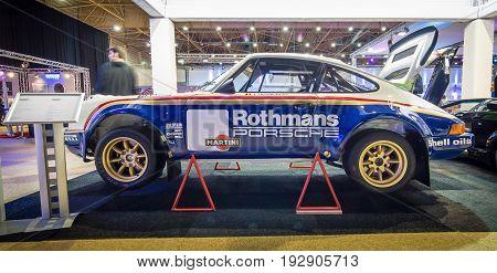MAASTRICHT NETHERLANDS - JANUARY 14 2016: Sports car Porsche 911 Group 4 1977. International Exhibition InterClassics & Topmobiel 2016