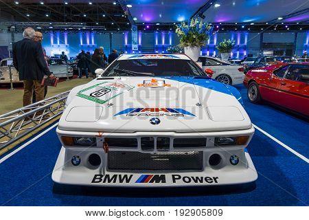 MAASTRICHT NETHERLANDS - JANUARY 14 2016: Sports car BMW M1 Procar (racing version of the BMW M1) 1980. International Exhibition InterClassics & Topmobiel 2016