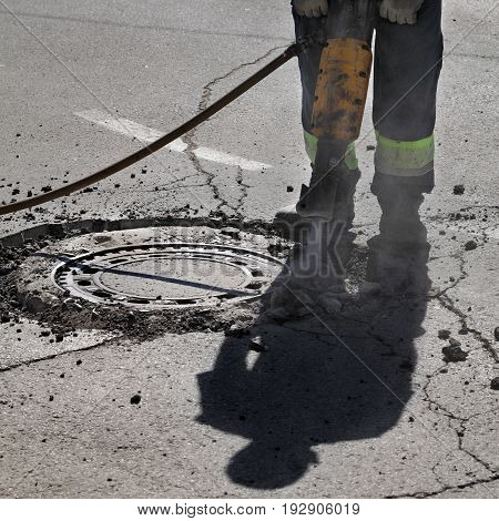 Asphalt Demolishing, Worker Using Jackhammer