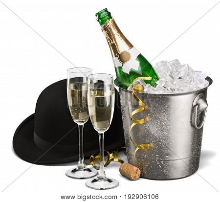 Two champagne glasses champagne flute alcoholic drink champagne glasses background