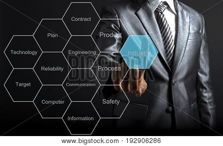 Engineer man touching concept industry production of goods and services. Engineer Concept