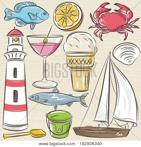 Set of summer symbols shells crab boat cocktail lighthouse ice cream bucket fish fruit on a blue grunge background vector illustration.