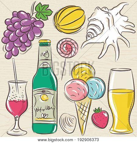 Set of summer symbols clams shells cocktail fruits beer ice cream on a blue grunge background vector illustration.
