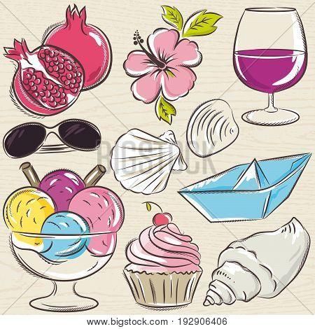 Set of summer symbols clams shells ice cream sun glasses pomegranate flower on a blue grunge background vector illustration.