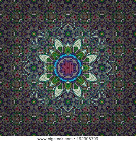 Anti-stress mandala. Indian flower mandala. Yoga logo background for meditation poster. Decorative colored round ornament. Colorful mandala. Oriental flourish vector.