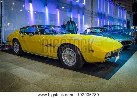 MAASTRICHT NETHERLANDS - JANUARY 14 2016: Grand tourer car Maserati Ghibli I 1967. International Exhibition InterClassics & Topmobiel 2016