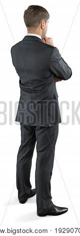 View business young man back business man white background