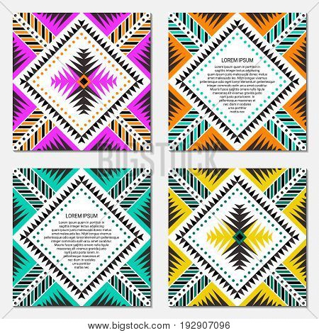 Aztec style square card set. American indian ornamental pattern design. Front and back pages. Ornate blank with ethnic motifs. Tribal decorative template. EPS 10 vector concept.