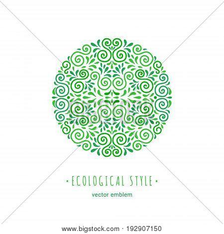 Ecology style flourish emblem. Decorative ornamental circle made of green swirls and leaves. Eco design round embellishment. EPS 10 vector illustration. Isolated.