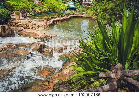 Beautiful Camly Waterfall In Da Lat City