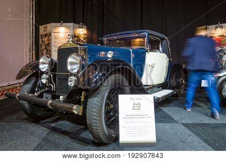 MAASTRICHT NETHERLANDS - JANUARY 14 2016: Vintage car Excelsior Albert 1 Cabriolet 1927. International Exhibition InterClassics & Topmobiel 2016
