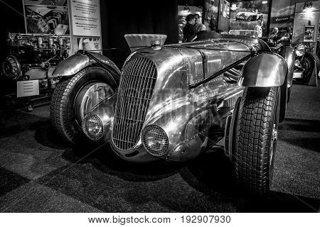 MAASTRICHT NETHERLANDS - JANUARY 14 2016: Racing car Lagonda 45 Litre Fox & Nicholl 1938. Black and white. International Exhibition InterClassics & Topmobiel 2016