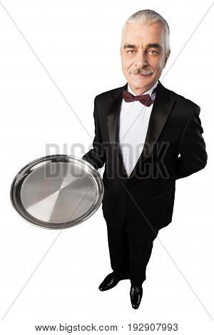 Waiter handsome salver grey hair looking at camera bow tie red