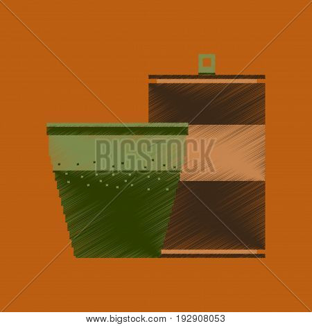 flat shading style icon pixel can of soda and glass