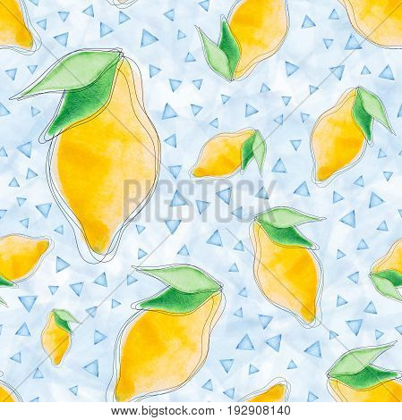 Seamless pattern with watercolor lemons and blue triangles on a blue background