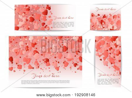 A set of banners of different sizes with falling hearts of confetti in a romantic style. Vector celebratory design for mothers day