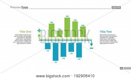 Positive and negative bar charts slide template. Business data. Comparison, diagram, design. Creative concept for infographic, presentation. Can be used for topics like analysis, statistics, finance.