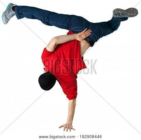 Young man handsome breakdancing sport white background
