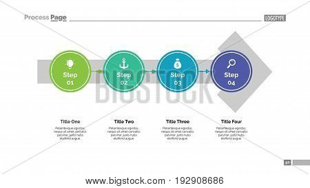 Process chart with steps on arrow. Process chart. Element of presentation, diagram.Concept for infographic, business templates, marketing. Can be used for topics like business, workflow, development