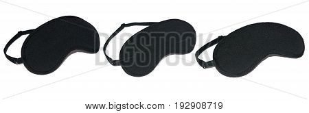 Set of black mask for sleep, isolated on white background.