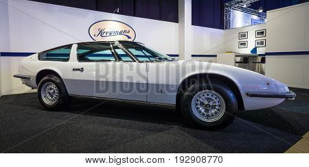MAASTRICHT NETHERLANDS - JANUARY 14 2016: Sports car Maserati Indy (Tipo AM 116). Giovanni Michelotti at Vignale-designed body. International Exhibition InterClassics & Topmobiel 2016