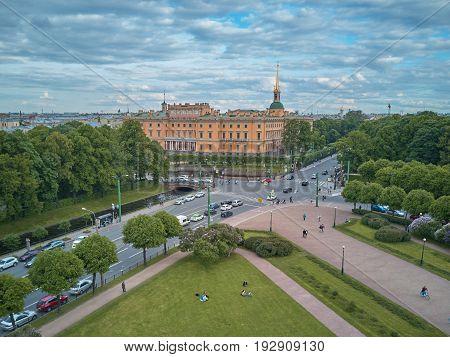 Aerial view of the Engineers' Castle Saint Petersburg Russia