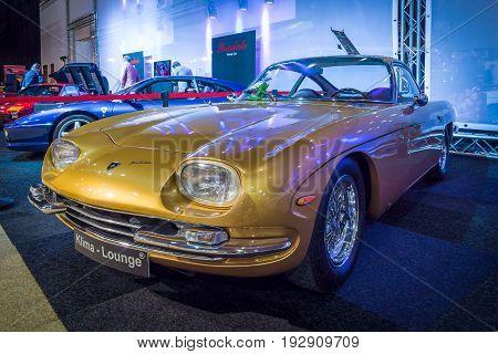 MAASTRICHT NETHERLANDS - JANUARY 14 2016: Grand tourer coupe Lamborghini 350 GT 1965. Designed by Carrozzeria Touring. International Exhibition InterClassics & Topmobiel 2016