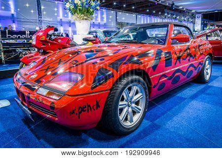 MAASTRICHT NETHERLANDS - JANUARY 14 2016: Compact luxury sports car BMW Z1 1990. International Exhibition InterClassics & Topmobiel 2016