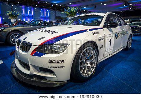 MAASTRICHT NETHERLANDS - JANUARY 14 2016: Sports car BMW M3 GT4 2009. International Exhibition InterClassics & Topmobiel 2016