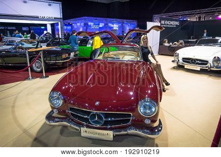 MAASTRICHT NETHERLANDS - JANUARY 14 2016: Sports car Mercedes-Benz 300 SL. Stand of company
