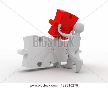 success concept . puzzle . 3d rendered illustration
