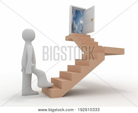 3d people - human character stairs and a open door . 3d rendered illustration