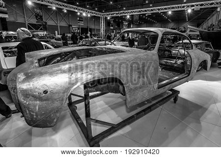 MAASTRICHT NETHERLANDS - JANUARY 14 2016: Maserati car body. The stand of company