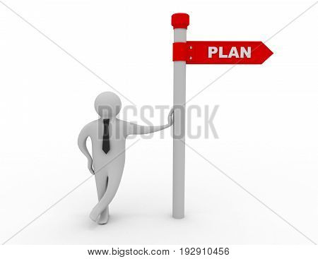 3d man with directional sign plan . 3d rendered illustration
