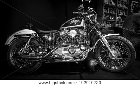 MAASTRICHT NETHERLANDS - JANUARY 14 2016: Motorbike Harley-Davidson Seventy-Two. Black and white. International Exhibition InterClassics & Topmobiel 2016