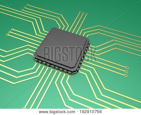mother board with chip components background , 3d rendered illustration