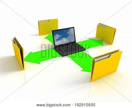 3d laptop. notebooks and folders with documents . 3d rendered illustration