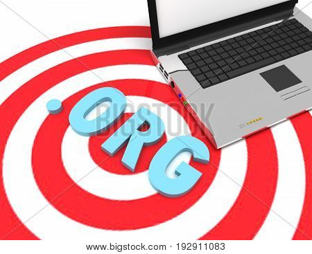domain concept target amd laptop  . 3d rendered illustration