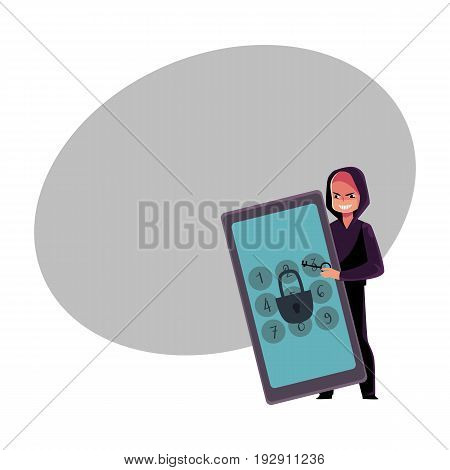 Hacker in black hoodie breaking phone, smartphone pin code, cracking screen lock, cartoon vector illustration with space for text. Hacking, breaking, cracking phone screen lock, pin code