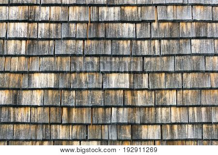 Shingle aged wooden wall roof background with copyspace, Weathered shakes with nice colored texture.
