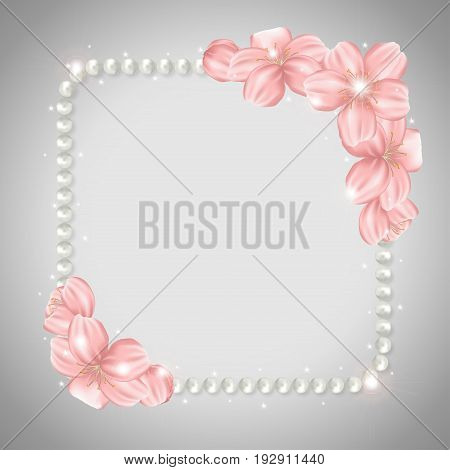 Pearl beads frame on gray background. Shiny jewellery bracelet necklace with sakura cherry flowers. Vector illustration