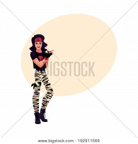 Young man dressed as glam rock star, wearing zebra leggings, skull tshirt and army boots, cartoon vector illustration with space for text. Full length portrait of glam rock style young man