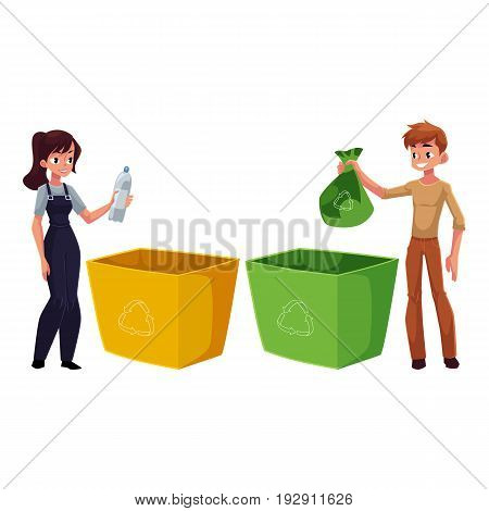 Man and woman putting garbage into trash bin, waste recycling concept, cartoon vector illustration isolated on white background. Full length portrait of adult people throwing garbage into trash bin