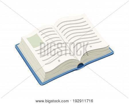 Open blue book. Isolated white background. Vector illustration.