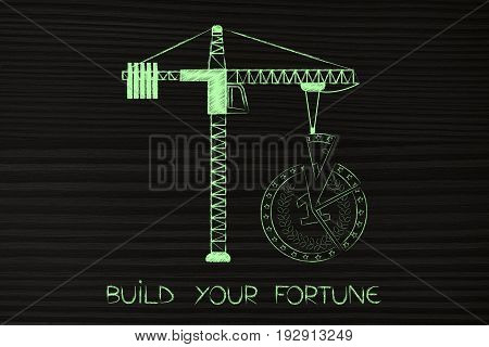 Tower Crane Completing The Missing Piece Of A Coin Split In Parts