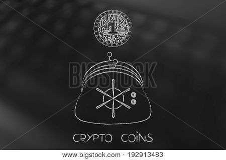Crypto Coin With Electronic Circuits Inside Falling Into Purse With Safe Opening