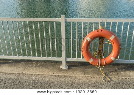 Life Buoy or life ring and on safety barriers at the sea