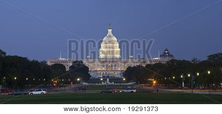 US Capitol panoramic at night as seen from the Mall.