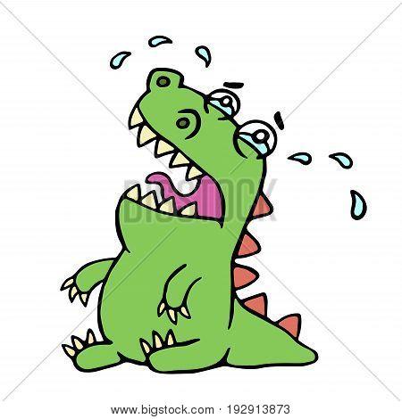 Cartoon crying dinosaur. Vector illustration. Poor melancholy character.